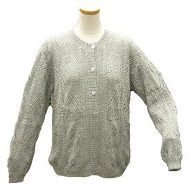 アルパカ100% カーディガンALCA-027-2 女性 ペルー アンデス ソフト 暖かい 可愛い 縄編み柄 淡グレー