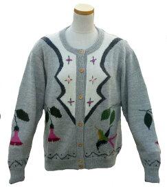 アルパカ100% カーディガン ALCA-011-3 女性 ペルー ソフト 暖かい 可愛い 花と鳥柄 グレー系