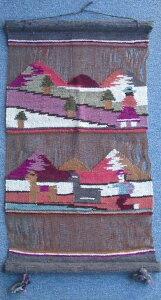 ペルー アンデス 透かし壁掛け 民族織物 アルパカ タペストリー アンデス風景 草木染め等 RA-B4