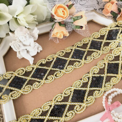スパンコールレース ゴールド チュールレース キラキラ 黒 ブラック 衣装 ダンス ベリーダンス ブレード 刺繍 リボン 手作り 飾り 素材 装飾 手芸 素材 材料