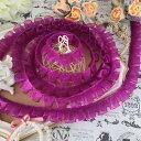 フリルレース オーガンジー ブレード レース 紫 リボン 手作り 飾り 素材 装飾 手芸 素材 材料 チュールリボン パープル