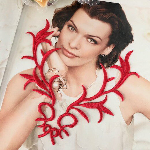 アップリケ 刺繍ワッペン レオタードモチーフ アイロンワッペン アイロン接着 アップリケワッペン パーツ ハンドメイド 素材 モチーフ 装飾 レッド 赤 バトントワリング