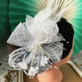 髪飾り 羽フェザー 白 ホワイト ヘッドドレス ヘアアクセサリー ダンス 衣装 ヘア飾り 社交ダンス 衣装 フェザー 花付き