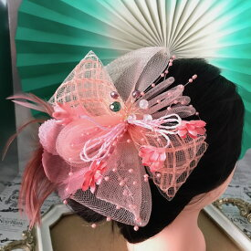 髪飾り 羽フェザー ピンク コーラルレッド ヘッドドレス ヘアアクセサリー ダンス 衣装 ヘア飾り アクセサリー 社交ダンス 衣装 フェザー 花付き