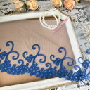 レース 幅広い 花模様 ブルー 青 刺繍 リボン 手作り 飾り 素材 装飾 手芸 材料 衣装 ハンドメイド レオ…