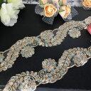 レース ゴールド 衣装 花柄 スパンコール付き チュールレース ブレード レオタード ドレス 装飾 金色 ドレス 装飾 ハ…