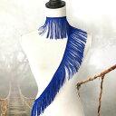 フリンジブレード W10cm 1ヤード タッセル 90cm ブルー 新体操 レオタード ベリーダンス 衣装レース ブレード 刺繍 …