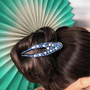 ヘア飾り ヘアアクセサリー バンスクリップ 花 ヘアピン ヘッドピース 髪飾り ブルー ラテンダンス ヘッドドレス