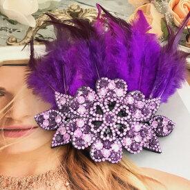 ヘッドピース 髪飾り フェザー 羽 ラインストーン ヘアアクセサリー フェザー パープル ヘッドドレス アクセサリー ダンス 衣装 ヘア飾り 社交ダンス 衣装 フェザー 紫 花付き