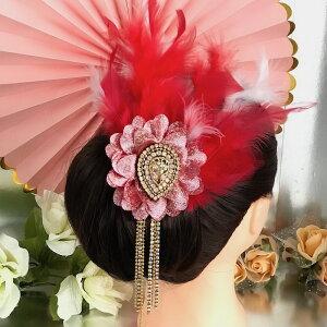 ヘア飾り ヘアアクセサリー ヘッドピース コサージュ 羽根付き フェザー ヘッドドレス ダンス衣装 髪飾り ヘアアクセサリー 社交ダンス 衣装 ブローチ レッド ピンク ホワイト