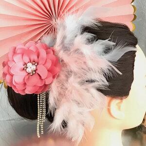 ヘア飾り ヘアアクセサリー ヘッドピース コサージュ 羽根付き フェザー ヘッドドレス ダンス衣装 髪飾り ヘアアクセサリー 社交ダンス 衣装 ブローチ ピンク ホワイト