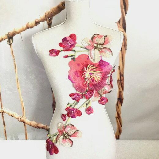 特大 お花 刺繍 モチーフ アップリケ ピンク ハンドメイド パーツ
