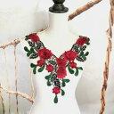 3D 薔薇 刺繍  襟モチーフ ハンドメイド パーツ バラ 装飾 レッド 赤 ダンス
