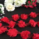 レース ブレード 花 リボン 手作り 飾り レッド 素材 装飾 手芸 材料 花 立体的 3D 赤 衣装 シフォン