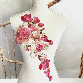 モチーフ 特大 薔薇模様 刺繍 チュール ベージュ レオタード 装飾 ハンドメイド ピンク 衣装 手作り 装飾 バレエ レオタード ドレス 素材 材料 花柄 エレガント カラフル