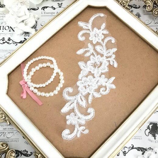 ホワイト バラ 刺繍 レース モチーフ ハンドメイド 薔薇 アップリケ