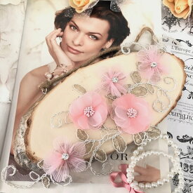 3D お花 刺繍 モチーフ ゴールド 衣装 装飾
