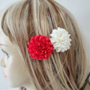 髪飾り ヘアアクセサリー 紅白 赤 白 着物 ヘッドドレス 成人式 卒業式 花 ウエディング ブライダル 女性 パーティー ヘッドコサージュ コサージュ ぽんぽん花