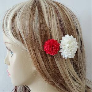 髪飾り ヘアアクセサリー 紅白 赤 白 着物 ヘッドドレス 成人式 卒業式 花 ウエディング ブライダル 女性 パーティー ヘッドコサージュ コサージュ 大小