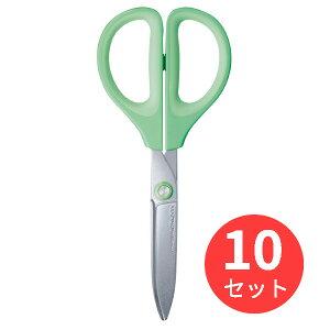 【10個セット】コクヨ ハサミ(サクサ)(グルーレス刃)緑 ハサ-P280G【まとめ買い】