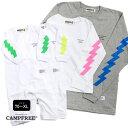 ロンT CAMPFREE ロングスリーブ Tシャツ ロンパース 腕プリント 長袖 Tシャツ 親子 お揃い カミナリ ベビー こども 大…