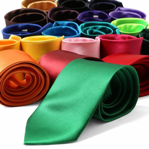 【メール便 送料無料】 カラバリネクタイ 全20色 8cm幅