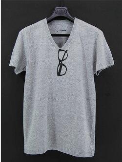 \2,990-greenpoint★Vネック転写Tシャツ灰【メガネ】/tシャツ/だまし絵/レディース/半袖/メンズ