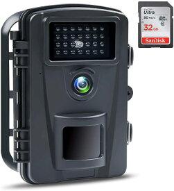 ABASK【カメラ 防犯 防犯カメラ トレイルカメラ 屋外カメラ ペットカメラ 見守りカメラ 小型カメラ Webカメラ ウェブカメラ 電池式 暗視カメラ 防水防塵 野外 1080PフルHD 赤外線ライト搭載 上書き録画 32G SDカード】