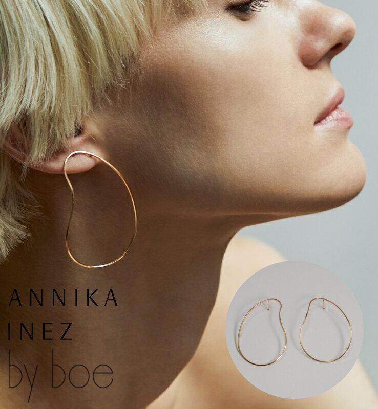 [BY BOE:ANNIKA INEZ/バイボー]GENTLE CURVE EARRINGS/ ピアス 変形 ワイヤー フープ 【1点のみメール便可能】