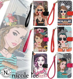 [NICOLE LEE/ニコールリー]DIVSHA UNIVERSAL PHONE PRINT CASE 2019 / 携帯ケース スマホケース フェイク レザー 手帳型 全機種対応 ストラップ ウォレット iPhone Xperia Galaxy Huawei