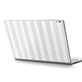 Surface Book2 13.5inch 15inch インチ 専用スキンシール Microsoft サーフェス サーフィス ノートブック ノートパソコン カバー ケース フィルム ステッカー アクセサリー 保護 012327 ストライプ グレー 白