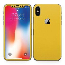 iPhoneX 対応 アイフォン テン 全面スキンシール フル 背面 側面 正面 液晶 スマホケース ステッカー スマホカバー ケース 保護シール スマホ スマートフォン 人気 008994 シンプル 無地 黄色