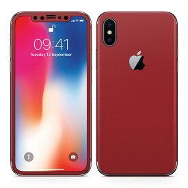 iPhoneX 対応 アイフォン テン 全面スキンシール フル 背面 側面 正面 液晶 スマホケース ステッカー スマホカバー ケース 保護シール スマホ スマートフォン 人気 009021 シンプル 無地 赤