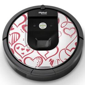 ルンバ Roomba iRobot 【960 980 対応】 専用スキンシール カバー ケース 保護 フィルム ステッカー デコ アクセサリー 掃除機 家電 000132 ラブリー ハート ピンク イラスト