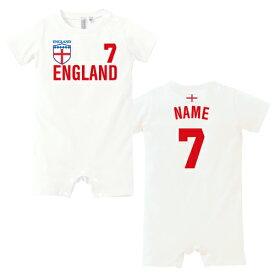 サッカーユニフォーム背番号&名入れロンパース「イングランド」/ベビー、イングランド代表、ENGLAND 半袖ユニフォーム レプリカ 代表 70サイズ 80サイズ カバーオール ロンパス 名前入り おなまえ ゲームシャツ 代表ユニ フットボール