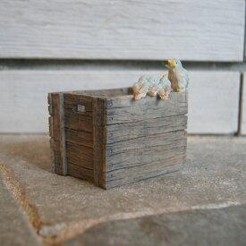 ガーデンオブジェ ピッコロ 青い鳥の親子 82751【東洋石創 エクステリア インテリア 庭 置物 雑貨 オーナメント ミニチュア 小箱 小物入れ 鳥 トリ Bird さえずり】