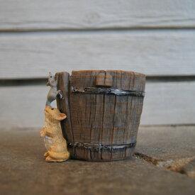 ガーデンオブジェ ピッコロ 猫とネズミ 深桶 82750【東洋石創 エクステリア インテリア 庭 置物 雑貨 オーナメント ミニチュア 小物入れ ネコ ねずみ cat mouse】