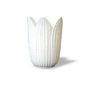 花瓶 バッチャン焼 ベトナム フラワーベース ホワイト チューリップ ベトナム雑貨 アジア 花器 陶器 おしゃれインテリア 焼物 ホワイト 置物 オブジェ インポート エスニック ナチュラル 白