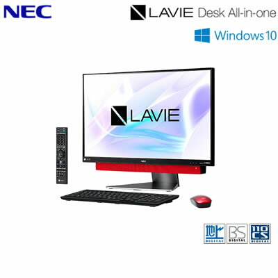 【返品OK!条件付】NEC 23.8型ワイド デスクトップパソコン LAVIE Desk ALL-in-one DA770/KAR PC-DA770KAR メタルレッド 2018年春モデル【KK9N0D18P】【140サイズ】