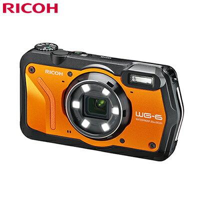 【返品OK!条件付】リコー タフネスカメラ RICOH WG-6 本格防水 耐衝撃 防塵 耐寒 4K動画 デジタルカメラ WG-6-OR オレンジ【KK9N0D18P】【60サイズ】