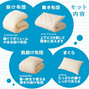 日本製洗える布団シリーズ和布団用肌掛け付き4点セットシングルサイズ