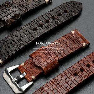 FORTUNATOフォルトゥナートNewCrossイタリアンレザー革メンズ時計ベルト24mmイージークリック