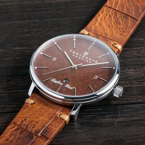FORTUNATOフォルトゥナートConcise(コンサイス)Collectionメンズ腕時計44mmレザーダイヤルライトブラウン/シルバー
