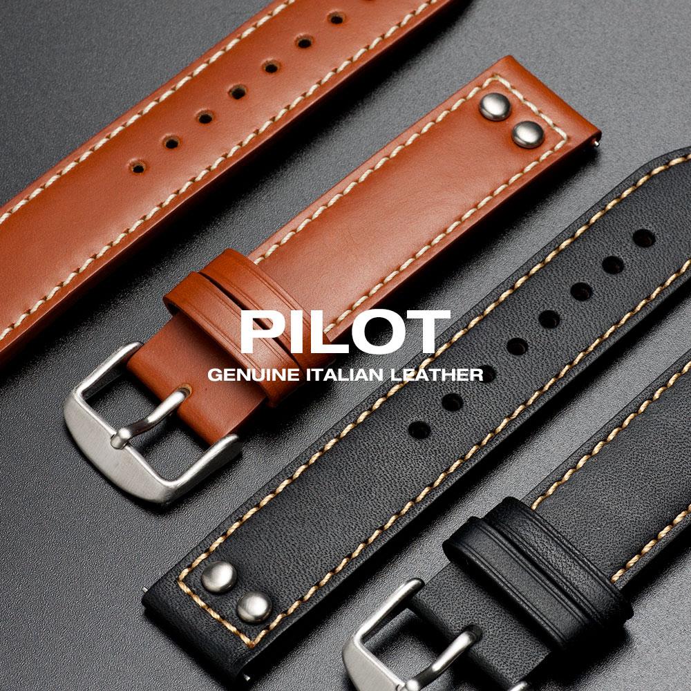 EMPIRE PILOT(パイロット) イタリアンレザー 腕時計 ベルト バンド 時計ベルト 腕時計ベルト 20mm 22mm EASY CLICK(イージークリック)