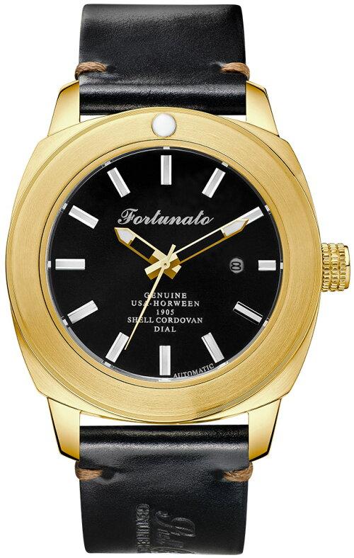 FORTUNATOフォルトゥナートHorweenShellCordovanCollectionメンズ腕時計44mmレザーダイヤル自動巻きブラック/ゴールド