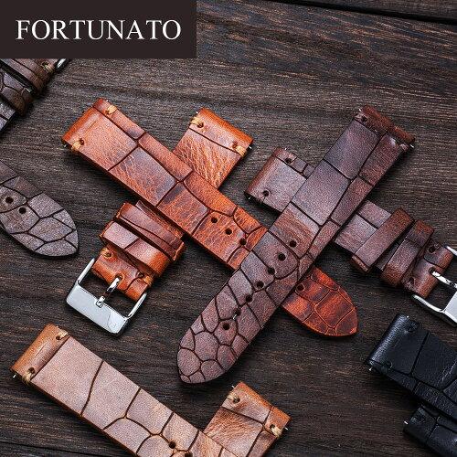 FORTUNATOフォルトゥナートCrocoイタリアンレザークロコ型押し革メンズ時計ベルト22mmイージークリック