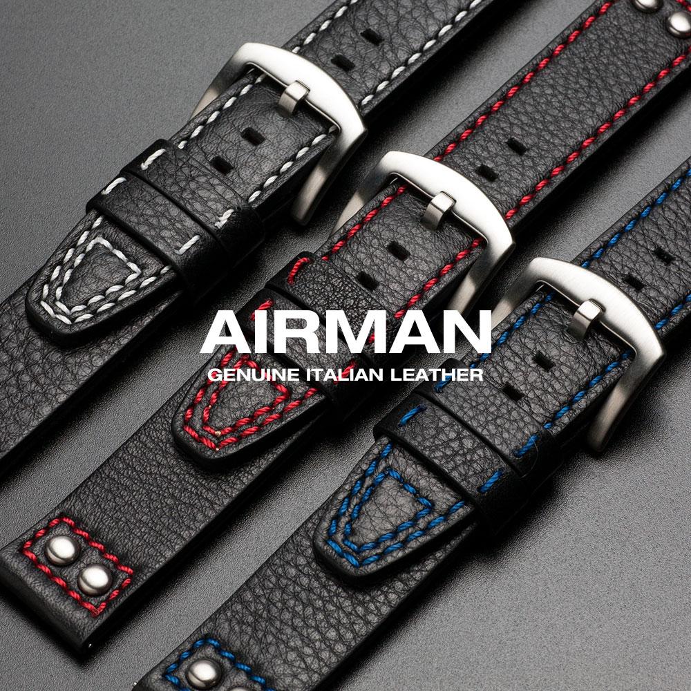 時計 ベルト 腕時計 バンド 20mm 22mm 革バンド EMPIRE AIRMAN エアマン イージークリック イタリアンレザー 腕時計ベルト 時計ベルト 腕時計バンド 革 本革