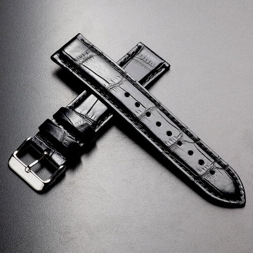 EMPIRELIAMリアムアリゲーターイタリアン耐汗ライニング時計ベルトブラック18mm20mm22mm