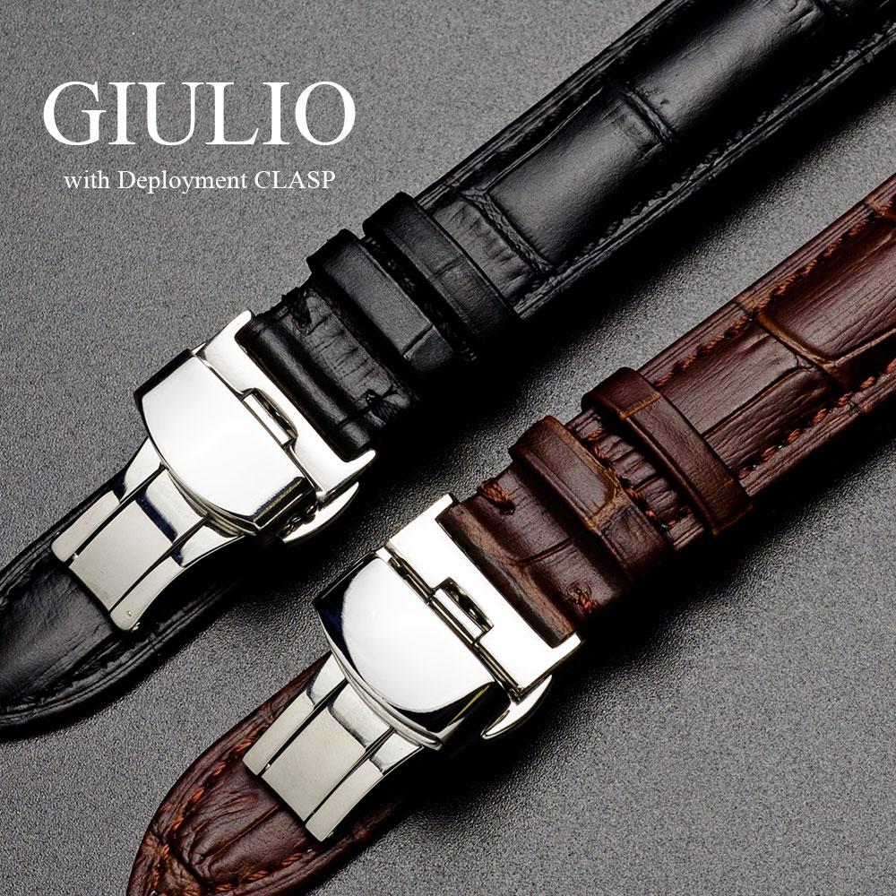腕時計 ベルト 18mm 20mm 時計 バンド EMPIRE GIULIO ジュリオ クロコ型押し レザー 革 替えベルト 交換 メンズ レディース 高級 革バンド Dバックル イージークリック