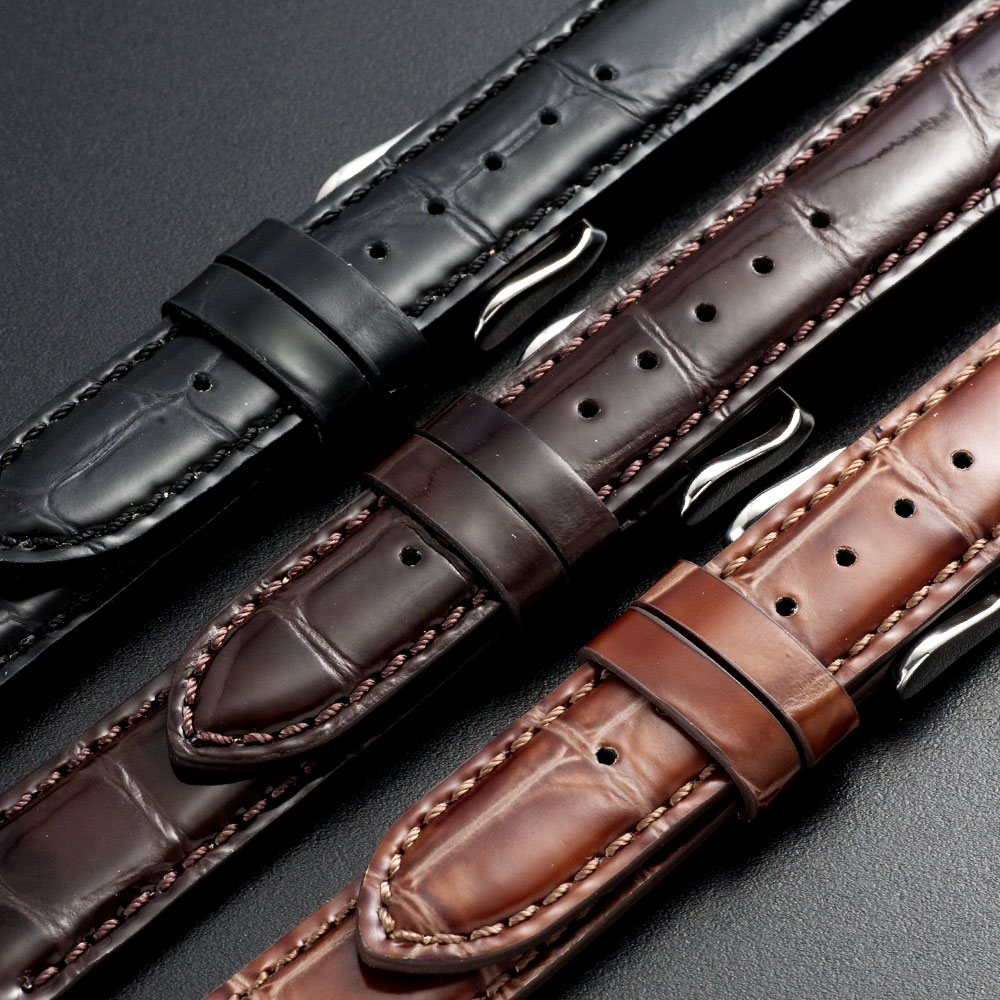 EMPIRE ShinyCroco(シャイニー・クロコ) 時計 ベルト イタリアンレザー 本革 バンド 18mm 20mm 22mm ダニエルウェリントンにも イージークリック 腕時計 ベルト 時計ベルト 腕時計ベルト 革